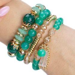 Zestaw bransoletek koraliki złote kryształ zielone - zielone
