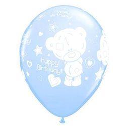 Balony z nadrukiem Miś Teddy Happy Birthday niebieskie - 30 cm - 5 szt.