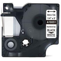 Rurka termokurczliwa DYMO Rhino 18051 6mm x 1.5m ø 1.2mm-2.3mm biała czarny nadruk S0718260 - zamiennik   OSZCZĘDZAJ DO 80% - Z