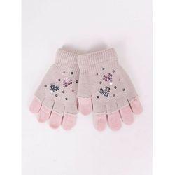 Rękawiczki dziewczęce beżowe podwójne ozdobne cekiny 14