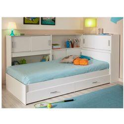 Łóżko basile cm z półkami i 2 szufladami modułowe 90 ×190 cm lub 90 × 200 cm - biały marki Vente-unique.pl