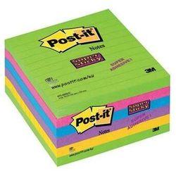 Karteczki POST-IT Super Sticky w linie (675 - 6SSUC), 100x100mm, 6x90 kart., neonowe