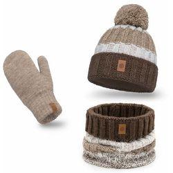 Ciepły komplet PaMaMi, czapka, komin i rękawiczki - Kawa z mlekiem