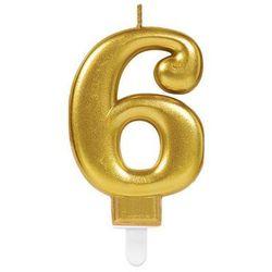 Świeczka cyferka złota sześć - 6