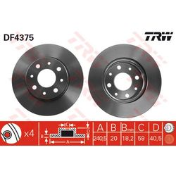 TARCZA HAM TRW DF4375 FIAT 500 1.3D MJ 07-, PANDA 1.2 4X4 04-, 1.3JTD 03-