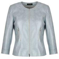 Stalowa kurtka z ekoskóry (Kolor: srebrny, Rozmiar: 46)