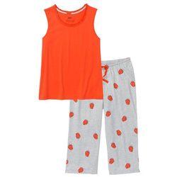 Piżama ze spodniami 3/4 bonprix mandarynkowy czerwony -jasnoszary melanż z nadrukiem