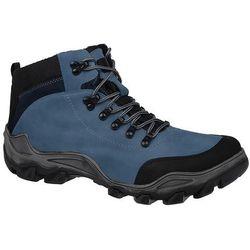 Trzewiki trekkingowe zimowe KORNECKI 3854 Niebieskie TEX ocieplane - Niebieski ||Błękitny ||Czarny