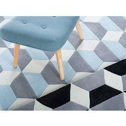 Dywan niebiesko-szaro-biały - 160x230 cm - poliester - ANTALYA