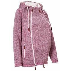 Bluza rozpinana z polaru, ciążowa z wstawką na nosidełko bonprix jeżynowo-matowy jasnoróżowy melanż
