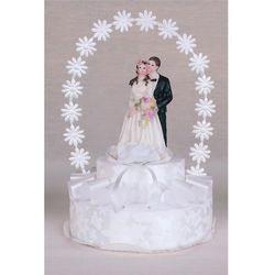 Stroik na tort weselny pojedyńczy duża para biały