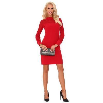 3e2452cb00 Czerwona elegancka wizytowa sukienka z transparentnym rękawem