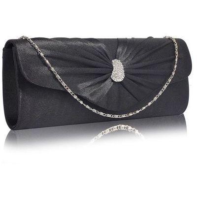 5ca87de651aa8 Czarna satynowa kopertówka torebka wizytowa - czarny marki Wielka brytania