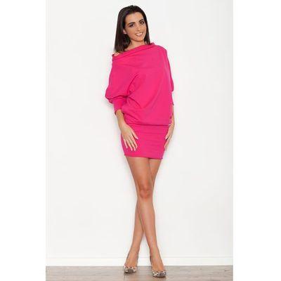 2090cae3de Różowa Dzianinowa Sukienka z Nietoperzowym Długim Rękawem