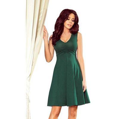 586e04ede4 Zielona rozkloszowana sukienka bez rękawów z dekoltem v marki Numoco