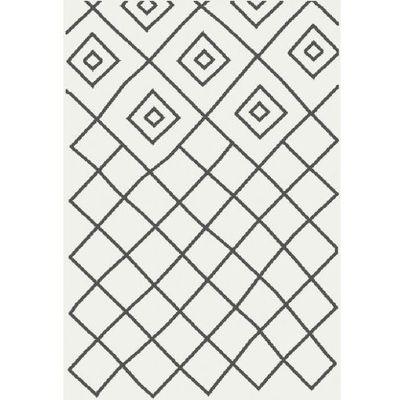 Myretail Dywan Shaggy Eco Komfort Mila 120x170 Biały Szary Romby Krata