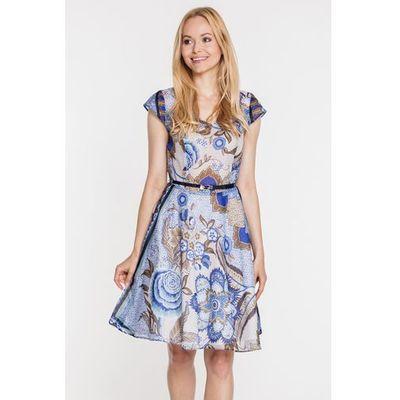 7548945ba7b1e1 Zwiewna sukienka w niebieskie, kwiatowe wzory - Topsi, 1 rozmiar