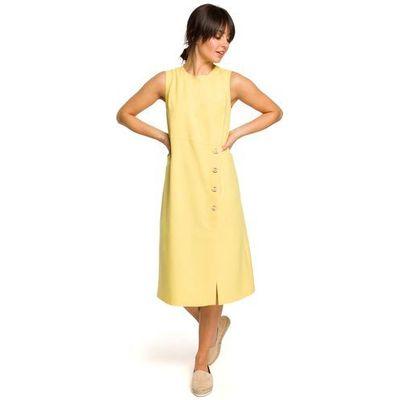 28a416bf Żółta Trapezowa Sukienka bez Rękawów z Guzikami