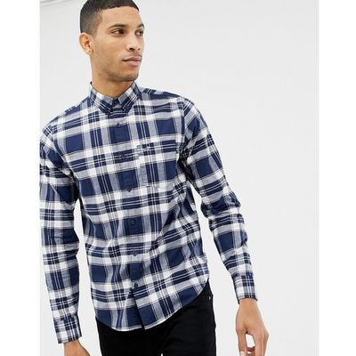 e4c73a99 Hollister icon logo button down check oxford shirt slim fit in navy/white -  Navy