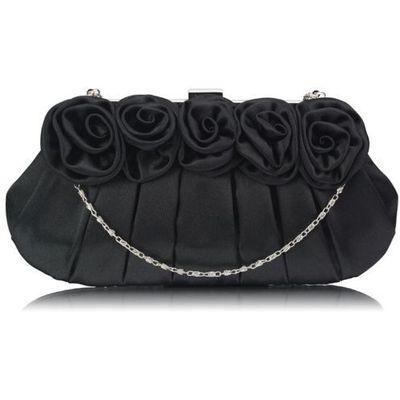 a0a6f99b1e91f Czarna torebka wizytowa z ozdobnymi różami - czarny marki Wielka brytania