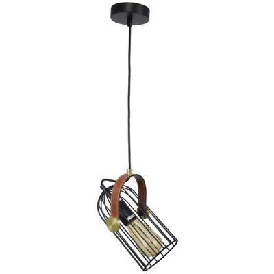 Industrialna lampa wisząca antoin pnd 2445 1 bk metalowa oprawa druciany zwis klatka loftowa czarna brązowa marki Italux