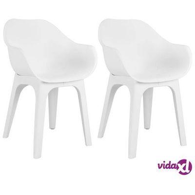 Vidaxl Krzesła Ogrodowe Z Podłokietnikami 2 Szt Białe Plastik 8719883551456