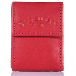 Bag street Mały czerwony portfel skórzany etui na klucze