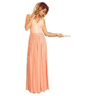 1a5229fd Brzoskwiniowa wieczorowa sukienka maxi z koronkową górą bez rękawów,  Numoco, 36-42