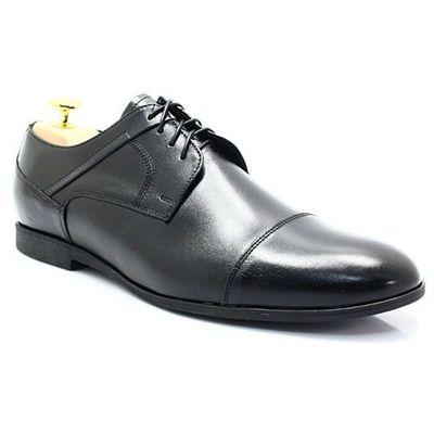 LAVAGGIO 432 CZARNE Wiztowe buty ze skóry naturalnej Czarny