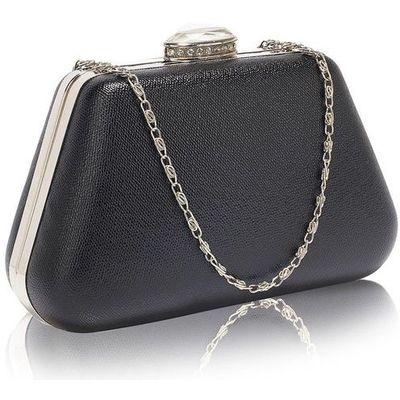 0d6e038f5e16b Szykowna gładka torebka wizytowa z kryształowym zamknięciem czarna - czarny