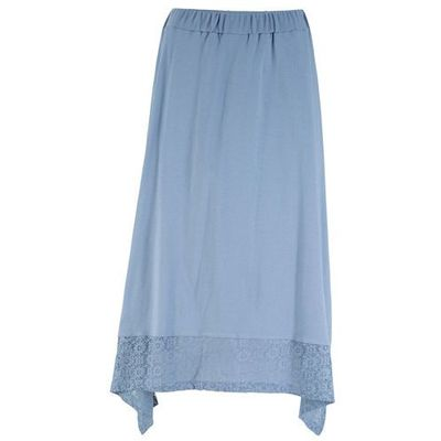 Spódnica z koronką bonprix biel wełny, kolor niebieski
