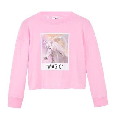 Shirt dziewczęcy z długim rękawem i nadrukiem z motywem jednorożca bonprix jasnoróżowy kryształowy, kolor różowy